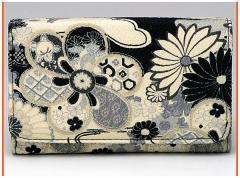 財布 メンズレディース 多機能三つ折り 和柄多収納さいふ おしゃれ手触りいいちりめん 使いやすい札入れ小銭入れカード入れサイフ(色90)