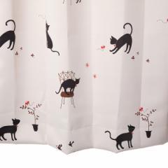 カーテン 遮光 猫柄 アイボリー 幅100cm×丈110cm2枚 遮光カーテン