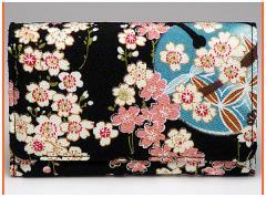 財布 メンズレディース 多機能三つ折り 和柄多収納さいふ おしゃれ手触りいいちりめん 使いやすい札入れ小銭入れカード入れサイフ(色86)