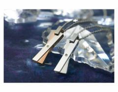 ペアネックレス ステンレス 2本セット カップル ダイヤモンド お揃い 送料無料 EVE-GPSD70SVWH-70STRO
