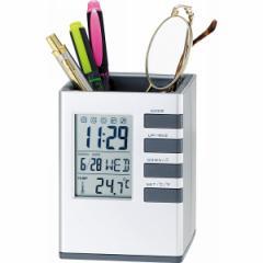 機能充実!【キューブデスクスタンド】時計カレンダー/温度計/アラーム/タイマー付