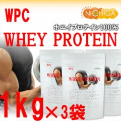 ホエイプロテイン WPC 1kg×3袋 プレーン タンパク質含有量81.9% アミノ酸スコア100 [02] NICHIGA ニチガ