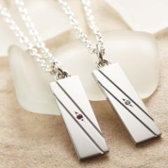 ペアネックレス 2本セット シルバー カップル 人気 刻印無料 誕生石 ダイヤモンド 送料無料 セミオーダー 012N-KS