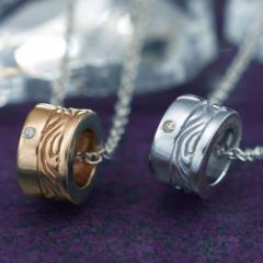 ペアネックレス ステンレス 2本セット カップル ダイヤモンド お揃い 送料無料 EVE-GPSD44SVWH-44ROGD