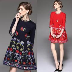 ★パーティードレス お出かけ 二次会  気品溢れ 花柄刺繍 ドレス ツーピース