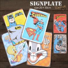 【メール便250円対応】ブリキ看板 アメコミ 20×30cm ビンテージ メタルサインプレート アメリカン雑貨 スーパーマン バットマンTweety┃