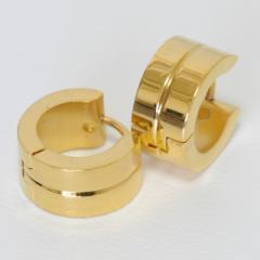 【メール便対応】フープ メンズピアス ゴールドカラー シンプル デザイン【メンズステンレスピアス/スタイリッシュ】xx-021 =┃