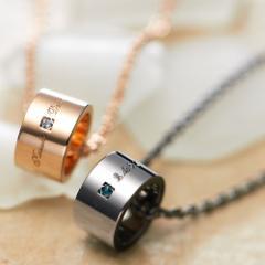 ペアネックレス シルバー 刻印 誕生石 セット カップル 送料無料 セミオーダー 003N-KS-bkpk(SU)/27,864円