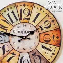 幅34cm 壁掛け時計 ステンドグラス風 レトロ調 アンティークデザイン ウォールクロック レトロクロック カラフル ステンドガラス風