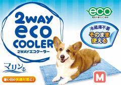 Mサイズ:2WAYエコクーラー 60×45cm マリン/ 愛犬・愛猫用冷却ひんやりシート リバーシブルクーラーマット ドギーマン クールマット