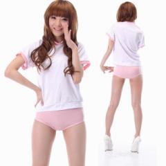 コスプレ 制服 体操服 ブルマ 女子高生 ハロウィン コスチューム 衣装 白 ピンクブルマ