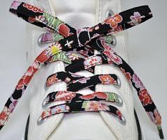 メール便 和柄靴ひも 柄多数ちりめん靴紐ノーマル おしゃれなメンズレディーススニーカーくつひも クツヒモ 日本製シューレース(色301)