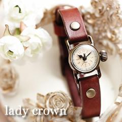 腕時計 時計 刻印無料 セイコー製クォーツムーブメント革 レザー lady crown