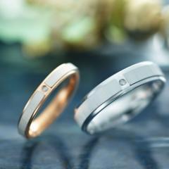 ペアリング 2本セット シンプル お揃い ステンレス ダイヤモンド ブランド EVE EVE-GRSD137-GRSD138
