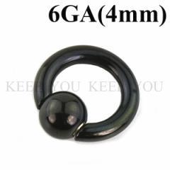 メール便 送料無料 キャプティブビーズリング ブラック 6GA(4mm) スナップイン BLACK ステンレス スプリングボール ボディピアス┃
