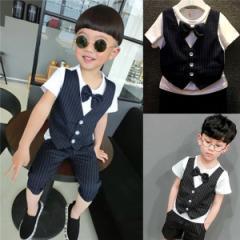 b4733d9812313 入学式スーツ フォーマル 男の子 韓国風 上下2点セット 子供スーツ 夏 ボーダー柄