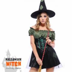 ハロウィン レディース Halloween コスプレ 仮装 カーキ 魔女 帽子付き ワンピース 半袖 ワンピ コスプレ コスチューム
