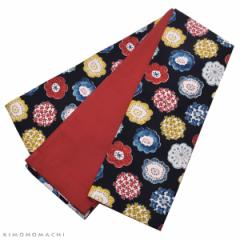 木綿 半幅帯「編み物風のお花」カジュアル 長尺もあります 洒落帯 コットン細帯 日本製