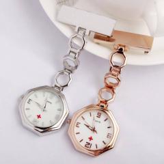 ナースウォッチ 時計 懐中時計 とめピン式 逆さ文字盤  ピンクゴールド シルバー 八角形 ラウンド シェイプ シンプル メタル シェル 虹