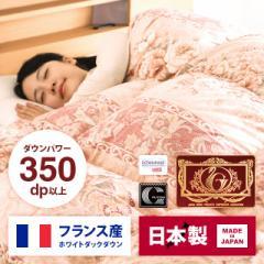 日本製 羽毛布団 ダブル フランス産 ホワイトダックダウン ピンク ブルー 掛け布団