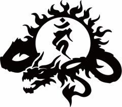 カッティングステッカー 車 バイク【干支梵字 カーン 不動明王 (酉) (とり) ドラゴン dragon 龍 (左向き)・9L サイズL】【メール便】