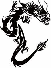 カッティングステッカー 車 バイク オシャレ カッコイイ カスタム 【ドラゴン (龍) トライバル ・1(右向き) サイズL】【メール便】