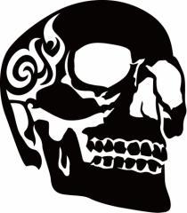 カッティングステッカー 車 バイク オシャレ カッコイイ カスタム 【死神 スカル ドクロ トライバル ・3(右向き) サイズL】【メール便】