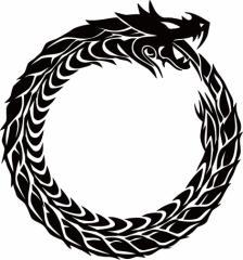 カッティングステッカー 車 バイク オシャレ カッコイイ カスタム【ウロボロス ドラゴン 龍 トライバル ・4・10(右向き)】【メール便】