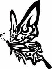 カッティングステッカー 車 バイク カッコイイ オシャレ 目立つ カスタム カー【蝶 バタフライ トライバル ・16(左向き)】【メール便】