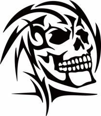 カッティングステッカー 〜 死神 スカル ドクロ トライバル ・6(右向き) 〜 車 バイク カッコイイ ワンポイント 目立つ カスタム