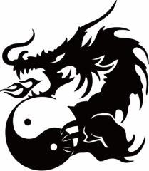 カッティングステッカー 車 バイク オシャレ カッコイイ カスタム 【ドラゴン 龍 トライバル ・4・5(左向き) サイズL】【メール便】