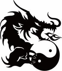カッティングステッカー 車 バイク お洒落 カッコイイ カスタム カー 傷隠し【ドラゴン 龍 トライバル ・4・5(右向き)】【メール便】