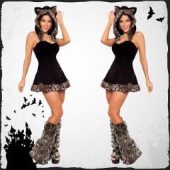 ハロウィン衣装 コスプレ衣装 仮装 コスチューム ヒョウ柄 セット ミニスカート ワンピース 猫 ガール ストラップレス  黒 動物
