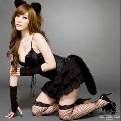 [即納]黒猫 猫耳 キャット ハロウィン 仮装 コスプレ 5点セット 小悪魔 魔女 キャラ アニマル グループ コスチューム SEXY ドレス