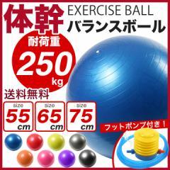 バランスボール 55cm 65cm 75cm フットポンプ付き 耐荷重250kg  ダイエット器具 ダイエット 器具 くびれ 送料無料