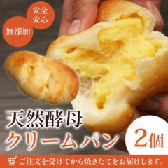 パン 無添加 天然酵母パン クリームパン×2個 天然酵母 (smp)