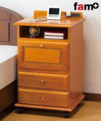 ベッドサイド ワゴン テーブル コンセント付き 収納 ナイトテーブル インテリア 桐製 木製 fam+/ファムプラス 送料無料