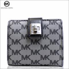 あす着 マイケルコース MICHAEL KORS 財布 二つ折り財布 PVC キャンバス モノグラム ブラック アウトレット 32f6anee2v-bk 新品