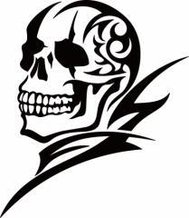カッティングステッカー 車 バイク オシャレ カッコイイ カスタム 【死神 スカル ドクロ トライバル ・8(左向き) サイズL】【メール便】