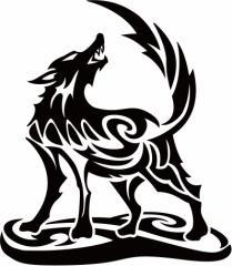 カッティングステッカー 〜 オオカミ(狼) ウルフ(wolf) トライバル ・2(右向き) サイズL 〜 車 バイク カッコイイ 目立つ カスタム