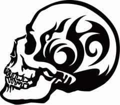 カッティングステッカー 〜 死神 スカル ドクロ トライバル ・9(左向き) サイズL 〜 車 バイク カッコイイ ワンポイント カスタム