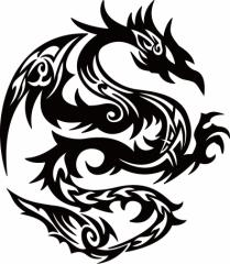 カッティングステッカー 車 バイク お洒落 カッコイイ カスタム カー 傷隠し【ドラゴン 龍 トライバル ・4・1(右向き)】【メール便】