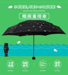 日傘 晴雨兼用 折りたたみ傘 なんと収納ただ87cm  100%UVカット 200g 軽量 おしゃれ 撥水 6本骨 魚柄限定 BFG87C