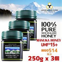 [2月上旬〜中旬頃に出荷]【送料無料】マヌカハニー UMF15+ 250g 3個セット 天然蜂蜜 ハニーバレー MGO514〜828相当 はちみつ
