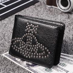 2つ折り財布 猫デザイン 男性メンズ 女性 男女兼用 カジュアル サイフ ウォレット カード収納 お札 携帯入れ 釘財布