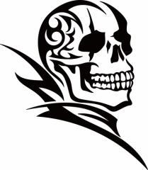 カッティングステッカー 〜 死神 スカル ドクロ トライバル ・8(右向き) サイズL 〜 車 バイク カッコイイ ワンポイント カスタム