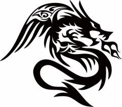 カッティングステッカー 車 バイク オシャレ カッコイイ カスタム カー【ドラゴン 龍 トライバル ・4・6(右向き)】【メール便】