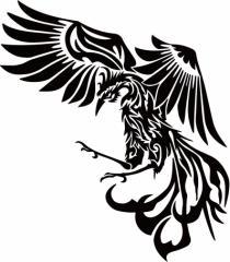 カッティングステッカー 〜 鳳凰 不死鳥 フェニックス phoenix トライバル (左向き) サイズL 〜 車 バイク カッコイイ 和風 カスタム