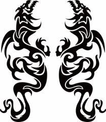 カッティングステッカー 車 バイク オシャレ カッコイイ カスタム【ドラゴン 龍 トライバル 2・4(左右1セット) サイズL】【メール便】