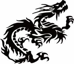 カッティングステッカー 車 バイク カッコイイ カスタム カー【ドラゴン 龍 トライバル 1・24(右向き) サイズL】【メール便】